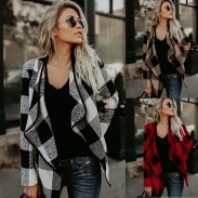 Casual Plaid chaqueta de las mujeres solapas abrigo de celosía de lana