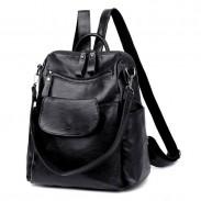 Moda color puro negro multifunción escuela bandolera PU estudiante mochilas