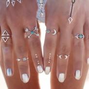 Conjunto de personalidad de anillo de Midi del clavo del nudillo de plata de la moda conjunto de 6 anillos