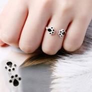 Lindo gato gracioso pie niña anillo abierto anillo animal