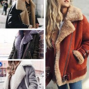 Elegante abrigo de invierno cálido abrigo de piel de cuello corto
