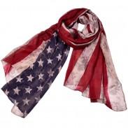 Clásico Estrellas Bufanda a rayas Bufanda de mujer con estampado de bandera americana