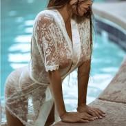 Lencería sexy Perspectiva Pijamas Flor Encaje Mujeres Lencería íntima
