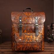 Retro 3D tallado en cuero real doble hebilla mochila marrón grande original de la escuela