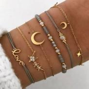 Único Estrella Luna Pulsera Love Beads de seis piezas para mujer
