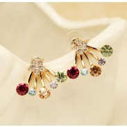 Elegante Corona Bowknot Estrella diamantes de imitación Plata Pendiente