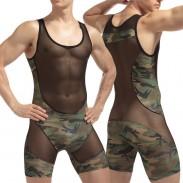 Lencería sexy para hombre Ver a través del chaleco de una pieza Camuflaje Malla Costura Mono Camisetas interiores Lencería
