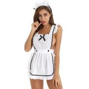 Sexy uniforme transparente seduce a mucama Cosplay arco disfraz mujer lencería íntima