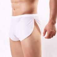 Pantalones cortos sexy de tiro bajo Trunks Bragas Lencería Hombres Split Side Calzoncillos Boxer Ropa interior de entrenamiento para correr