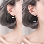 Dulce Cola de sirena perla Diamante plata mujer pendientes aretes
