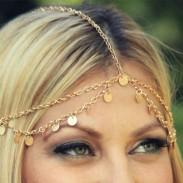 Accesorio para el pelo de cadena de borla de onda de pieza de oro brillante lindo