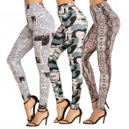 Fashion Unique Newspaper Camouflage Snakeskin Pattern Yoga Pants Women's Leggings