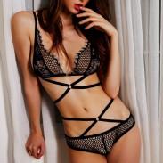 Vestido de encaje con cuello en V sexy ahuecado de mujer Ver tentación empaquetado Ropa interior sin respaldo