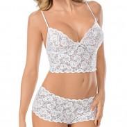 Lencería sexy de encaje blanco y negro a través de la ropa interior de mujer de encaje