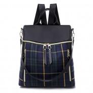 Bolso de escuela de cuadros escoceses de estilo británico Color de contraste de ocio Mochila multifuncional de lona