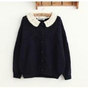 Nueva moda ahueca hacia fuera de encaje suelta suéter de punto Cardigan