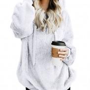 Chaqueta de terciopelo con capucha de color sólido con capucha de terciopelo para mujer de ocio