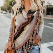 Nuevo suéter de manga larga borla suelta lana chal de las mujeres