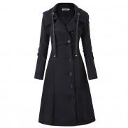 Ocio único cálido irregular manga larga irregular dobladillo doble cara lana mujer abrigo