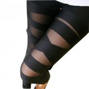 Leggings de malla sexy con tira abierta