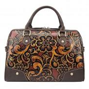 Bolso de remache de viaje en relieve retro Bolso de hombro de estilo almohada grande en relieve flor hecha a mano grande
