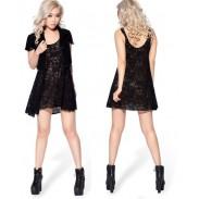 Camisa de vestir chaleco bordado de encaje negro sexy
