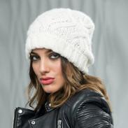 Diamante de moda a cuadros de lana gruesa suave diadema de punto cálido invierno mujer sombrero