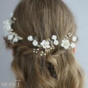 Rama de flor blanca nupcial fresca Hojas de perlas de cristal Accesorios de horquilla para el pelo de la boda