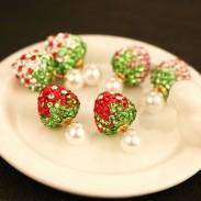 Encantador fresa Completo Diamante Doble Vestir Perla Aretes Studs