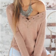 Sólido mangas largas de las mujeres suéter v cuello que hace punto vendaje jersey blusa