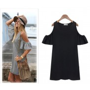 Mini vestido de algodón sin tirantes de moda