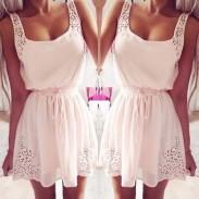 Vestido de gasa sin mangas de la cintura dulce