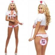 Sexy enfermera blanca tentación uniforme cosplay mujer enfermera íntima lencería