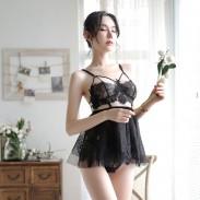 Sexy pijama Sling Perspectiva falda mujer lencería encaje sujetador conjunto camisón