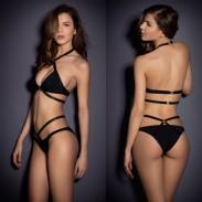 Maillot de bain push-up noir Halter Bikinis