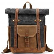 Mochila de lona gruesa de cuero de la mochila del viaje que acampa al aire libre de la vendimia