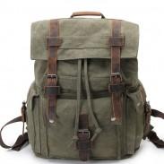 Cuero retro tres hebilla bolso de escuela grande Mochila de viaje acampar al aire libre