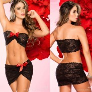 Sexy ver a través de encaje arco falda tentación tubo mujeres lencería