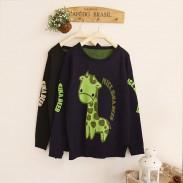 Cartoon Giraffe Gold Letters Jacquard Sleeve Sweater