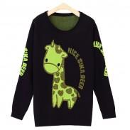 Suéter de manga larga con estampado de letras de jirafa con hilo de seda