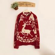Unique Elk Flower Vine Jacquard Sleeve Thick Sweater