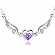Ángel Collar de plata de corazón de ala de amante