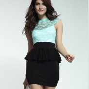 New Fashion Lace Sleeveless Printing Lotus Leaf Dress&Party Dress