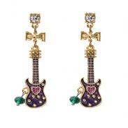 Clásico Arco Diamante de imitación Asimétrico Guitarra Música Pendiente soltar