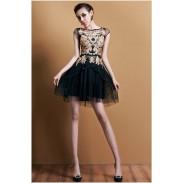Elegante bordado ahueca hacia fuera el vestido de fiesta sin mangas floral y vestido