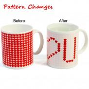Precioso regalo que cambia de color taza corazón rojo patrón taza