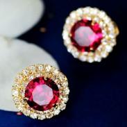 Espumoso Grande Diamante de imitación Cristal Oreja Studs