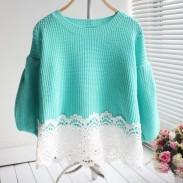 Suéter de manga dobladillo de encaje con dobladillo de encaje