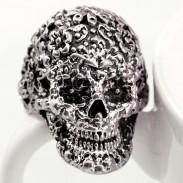 Punk Clásico Tallado Cráneo anillo