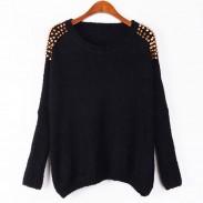 Suéter de cadena de remaches de manga de murciélago clásico